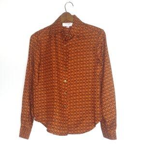 Skirtin Around orange horsebit blouse size 6
